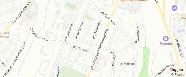 Улица Пугачева на карте Чебоксар с номерами домов