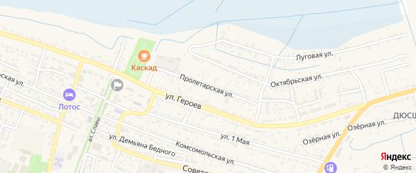 Пролетарская улица на карте поселка Лимана с номерами домов