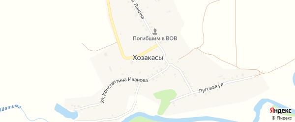 Луговая улица на карте деревни Хозакасы с номерами домов