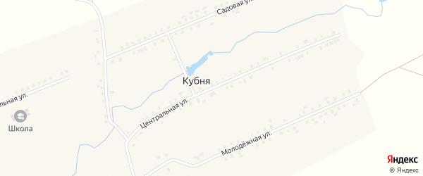 Центральная улица на карте деревни Кубни с номерами домов