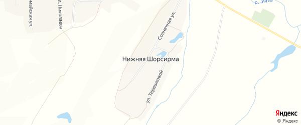 Карта деревни Нижней Шорсирмы в Чувашии с улицами и номерами домов