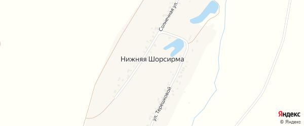Солнечная улица на карте деревни Нижней Шорсирмы с номерами домов