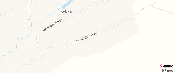 Молодежная улица на карте деревни Кубни с номерами домов