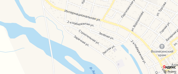 Строительная улица на карте Харабали с номерами домов