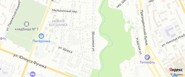 Яблоневая улица на карте Чебоксар с номерами домов