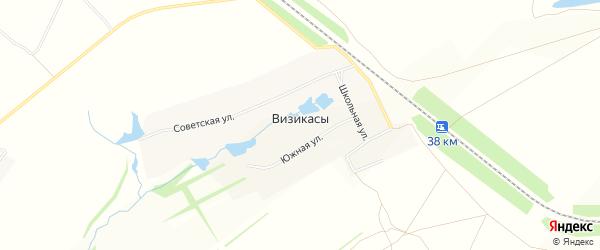 Карта села Визикас в Чувашии с улицами и номерами домов