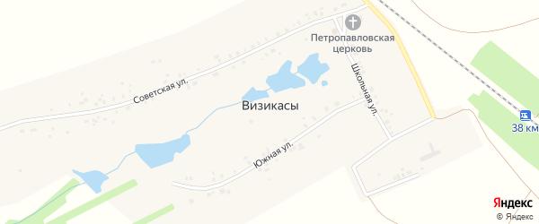 Железнодорожная улица на карте села Визикас с номерами домов