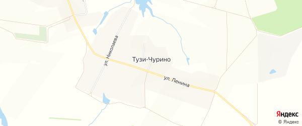 Карта деревни Тузи-Чурино в Чувашии с улицами и номерами домов