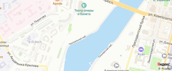 Театральная набережная на карте Чебоксар с номерами домов