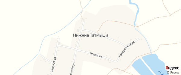 Больничная улица на карте деревни Нижние Татмыши с номерами домов