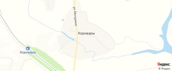 Карта деревни Хорнвары в Чувашии с улицами и номерами домов