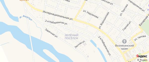 Зеленая улица на карте Харабали с номерами домов
