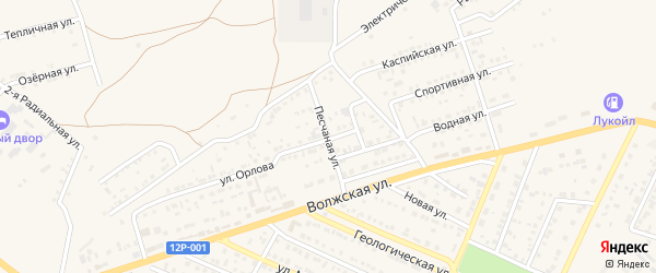 Песчаная улица на карте Харабали с номерами домов