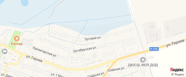 Луговая улица на карте поселка Лимана с номерами домов