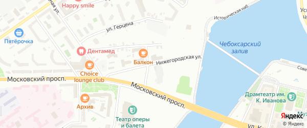 Нижегородская улица на карте Чебоксар с номерами домов