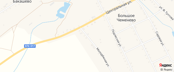 Молодежная улица на карте села Большое Чеменево с номерами домов