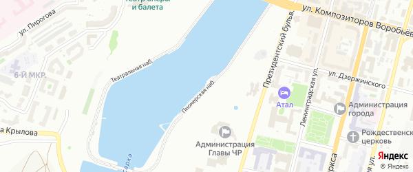 Пионерская набережная на карте Чебоксар с номерами домов