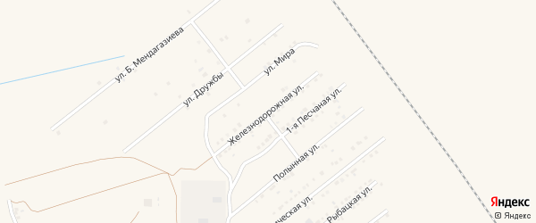Железнодорожная улица на карте Харабали с номерами домов