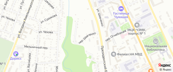 Переулок Шевченко на карте Чебоксар с номерами домов