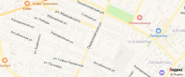 Первомайская улица на карте Харабали с номерами домов