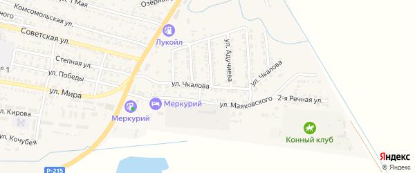 Улица Чкалова на карте поселка Лимана с номерами домов
