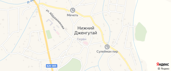 Улица Казиханова на карте села Нижнего Дженгутая с номерами домов