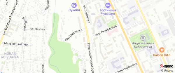 Президентский бульвар на карте Чебоксар с номерами домов