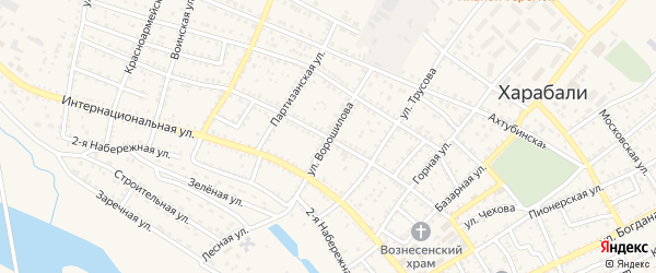 Улица Ворошилова на карте Харабали с номерами домов