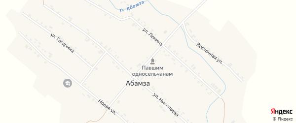 Центральная улица на карте деревни Абамзы с номерами домов
