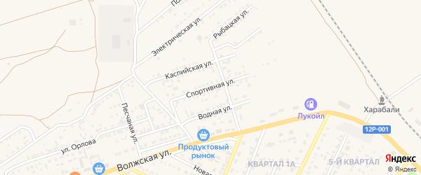 Спортивная улица на карте Харабали с номерами домов