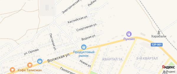 Водная улица на карте Харабали с номерами домов