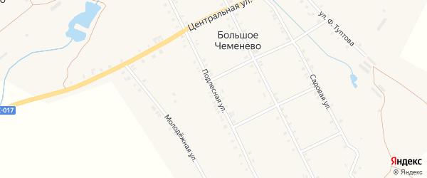 Подлесная улица на карте села Большое Чеменево с номерами домов