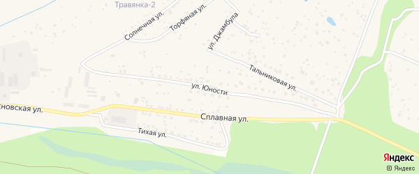 Улица Юности на карте поселка Сосновки с номерами домов