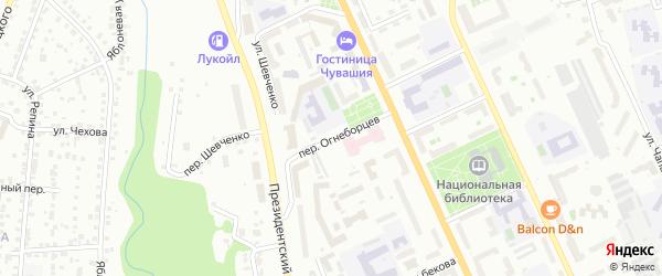 Переулок Огнеборцев на карте Чебоксар с номерами домов