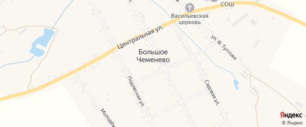 Улица Ф.Туптова на карте села Большое Чеменево с номерами домов