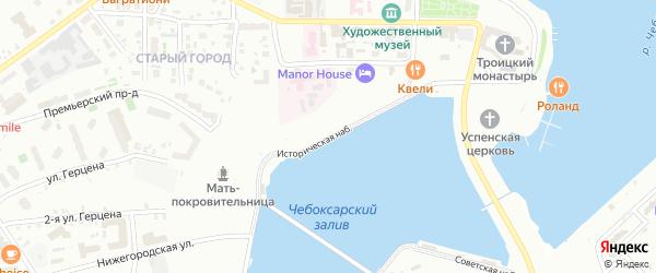 Историческая набережная на карте Чебоксар с номерами домов
