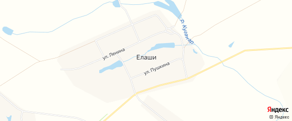 Карта деревни Елаши в Чувашии с улицами и номерами домов