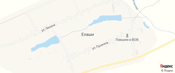 Гвардейская улица на карте деревни Елаши с номерами домов