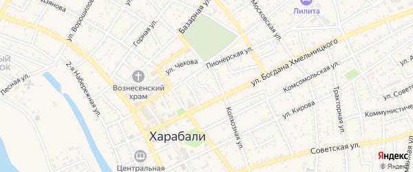 Переулок Б.Хмельницкого на карте Харабали с номерами домов