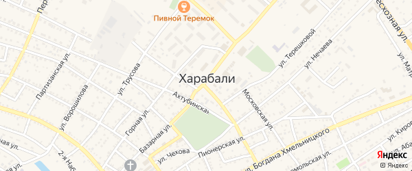 Волгоградский переулок на карте Харабали с номерами домов