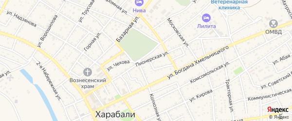 Пионерская улица на карте Харабали с номерами домов