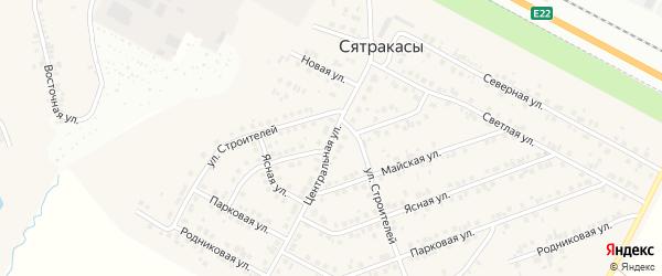 Центральная улица на карте деревни Сятракасы (Лапсарского с/п) с номерами домов