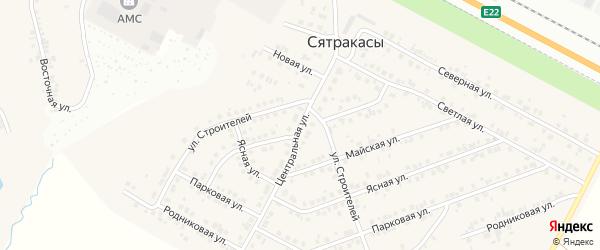 Центральная улица на карте деревни Сятракасы (Сарабакасинского с/п) с номерами домов