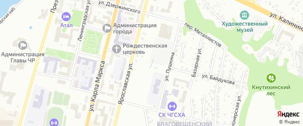 Бассейная улица на карте Чебоксар с номерами домов