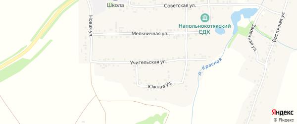 Учительская улица на карте деревни Напольные Котяки с номерами домов