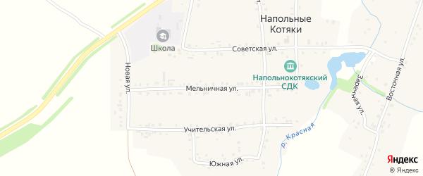 Мельничная улица на карте деревни Напольные Котяки с номерами домов