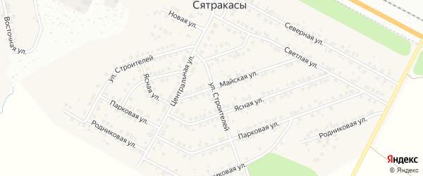 Майская улица на карте деревни Сятракасы (Лапсарского с/п) с номерами домов