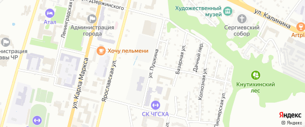 Улица Пушкина на карте Чебоксар с номерами домов