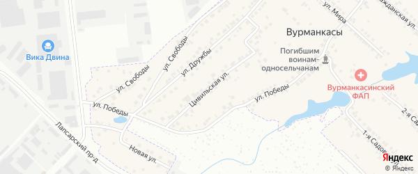 Цивильская улица на карте деревни Вурманкасы (Лапсарского с/п) с номерами домов