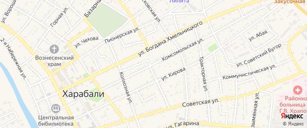 Комсомольская улица на карте Харабали с номерами домов